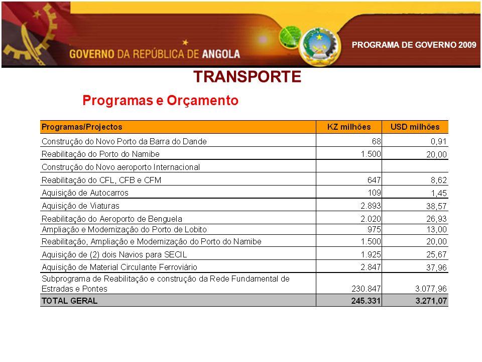 PROGRAMA DE GOVERNO 2009 TRANSPORTE Programas e Orçamento