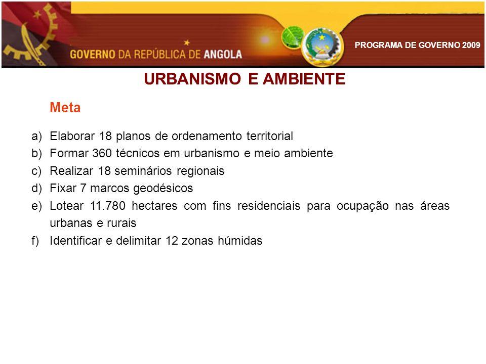 PROGRAMA DE GOVERNO 2009 Meta a)Elaborar 18 planos de ordenamento territorial b)Formar 360 técnicos em urbanismo e meio ambiente c)Realizar 18 seminár