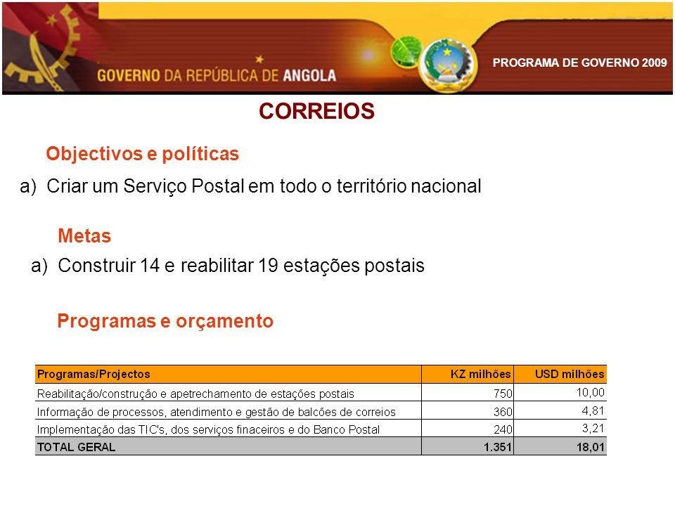PROGRAMA DE GOVERNO 2009 CORREIOS Objectivos e políticas a)Criar um Serviço Postal em todo o território nacional Metas a)Construir 14 e reabilitar 19