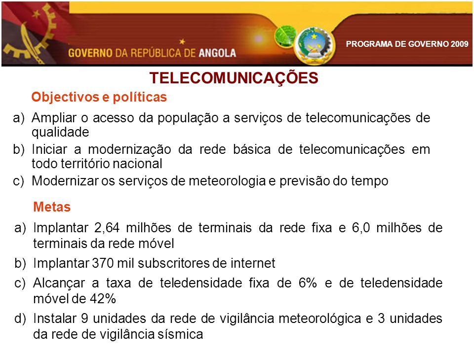 PROGRAMA DE GOVERNO 2009 Objectivos e políticas a)Ampliar o acesso da população a serviços de telecomunicações de qualidade b)Iniciar a modernização d