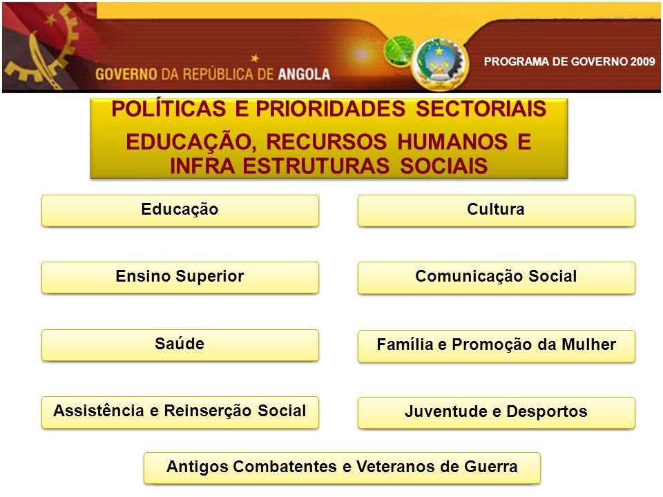 PROGRAMA DE GOVERNO 2009 POLÍTICAS E PRIORIDADES SECTORIAIS EDUCAÇÃO, RECURSOS HUMANOS E INFRA ESTRUTURAS SOCIAIS POLÍTICAS E PRIORIDADES SECTORIAIS E