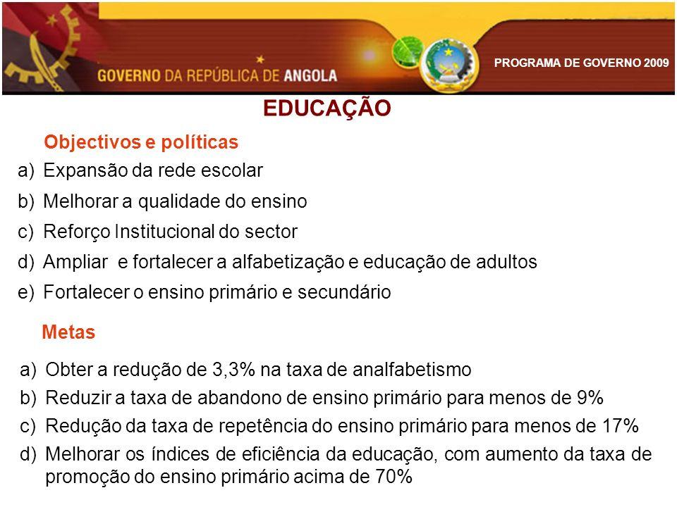 PROGRAMA DE GOVERNO 2009 a)Expansão da rede escolar b)Melhorar a qualidade do ensino c)Reforço Institucional do sector d)Ampliar e fortalecer a alfabe