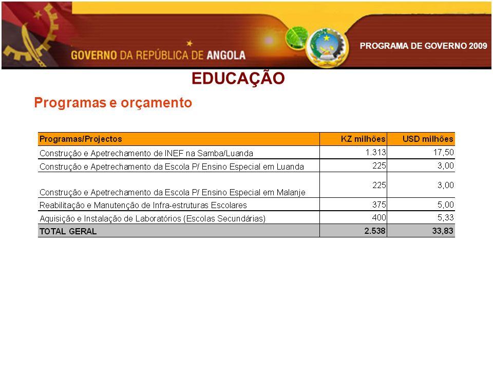 PROGRAMA DE GOVERNO 2009 EDUCAÇÃO Programas e orçamento