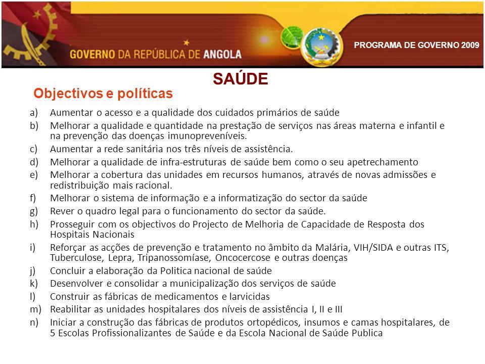 PROGRAMA DE GOVERNO 2009 a)Aumentar o acesso e a qualidade dos cuidados primários de saúde b)Melhorar a qualidade e quantidade na prestação de serviço