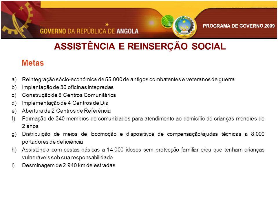 PROGRAMA DE GOVERNO 2009 a)Reintegração sócio-económica de 55.000 de antigos combatentes e veteranos de guerra b)Implantação de 30 oficinas integradas