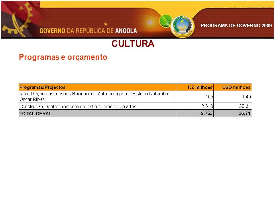 PROGRAMA DE GOVERNO 2009 Programas e orçamento CULTURA