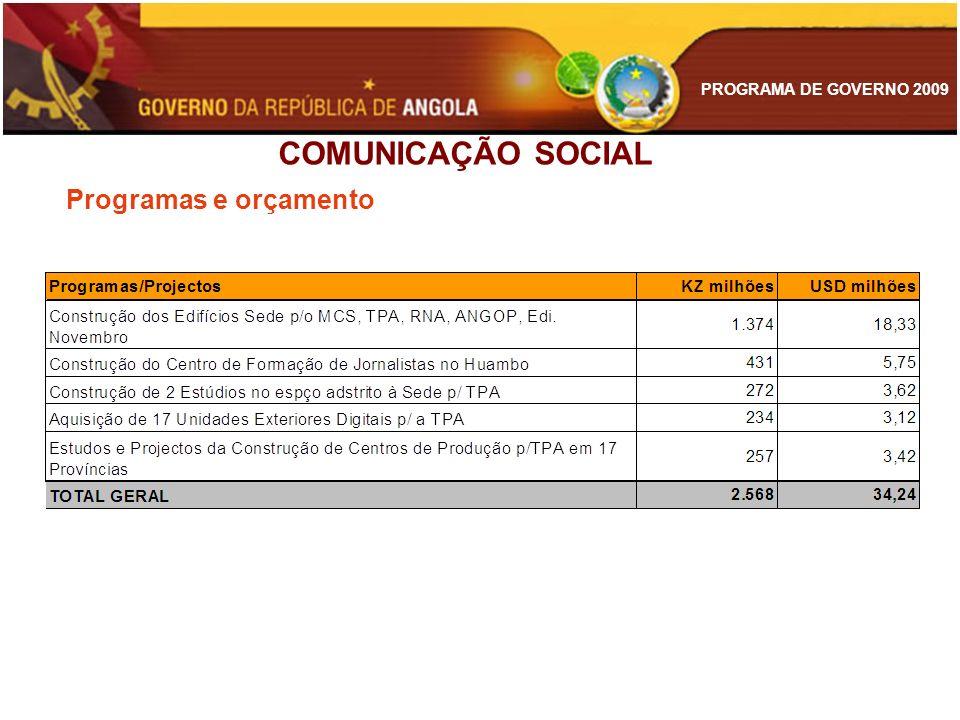 PROGRAMA DE GOVERNO 2009 Programas e orçamento COMUNICAÇÃO SOCIAL
