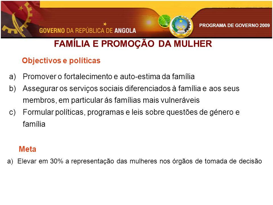 PROGRAMA DE GOVERNO 2009 a)Promover o fortalecimento e auto-estima da família b)Assegurar os serviços sociais diferenciados à família e aos seus membr