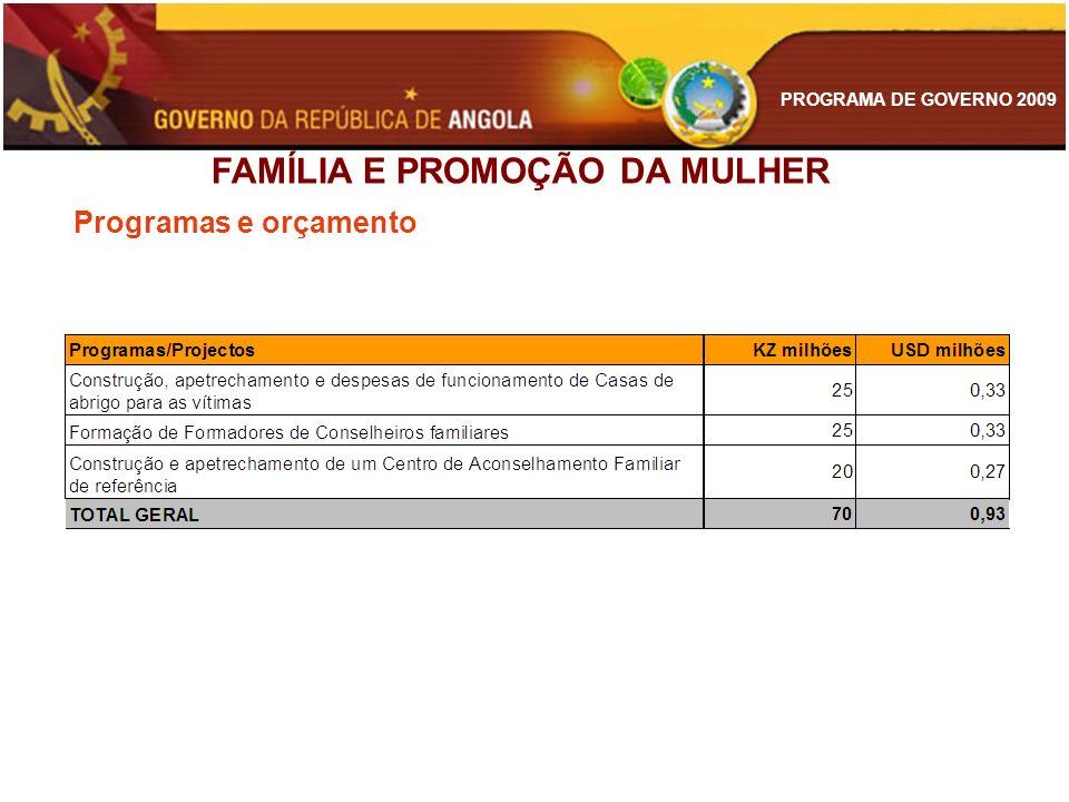 PROGRAMA DE GOVERNO 2009 Programas e orçamento FAMÍLIA E PROMOÇÃO DA MULHER