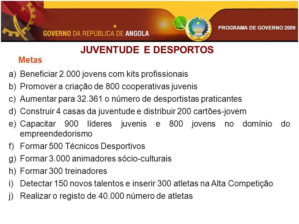 PROGRAMA DE GOVERNO 2009 JUVENTUDE E DESPORTOS a)Beneficiar 2.000 jovens com kits profissionais b)Promover a criação de 800 cooperativas juvenis c)Aum