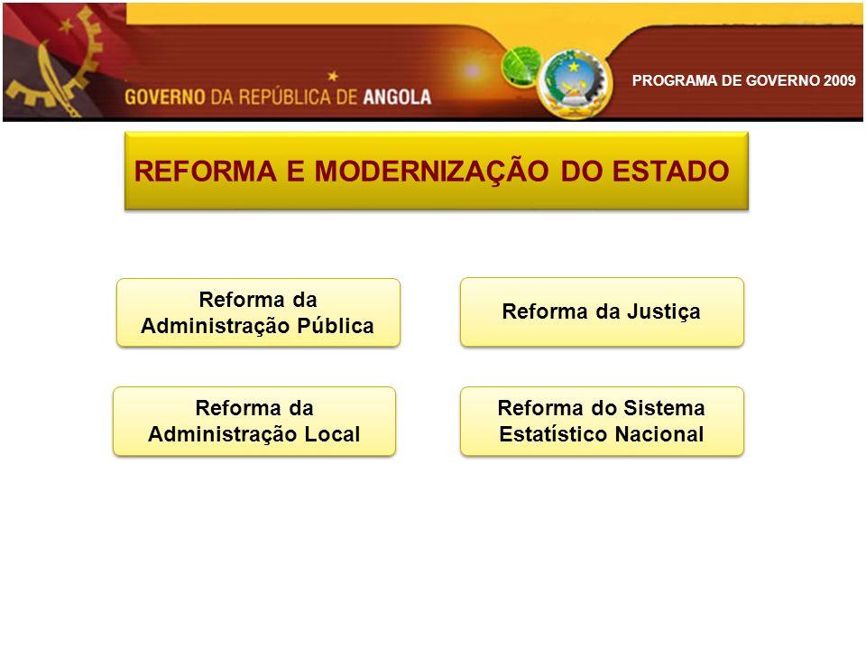 PROGRAMA DE GOVERNO 2009 Reforma da Administração Local Reforma da Administração Pública Reforma da Justiça REFORMA E MODERNIZAÇÃO DO ESTADO Reforma d