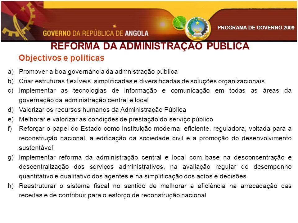 PROGRAMA DE GOVERNO 2009 Objectivos e políticas a)Promover a boa governância da admnistração pública b)Criar estruturas flexíveis, simplificadas e div