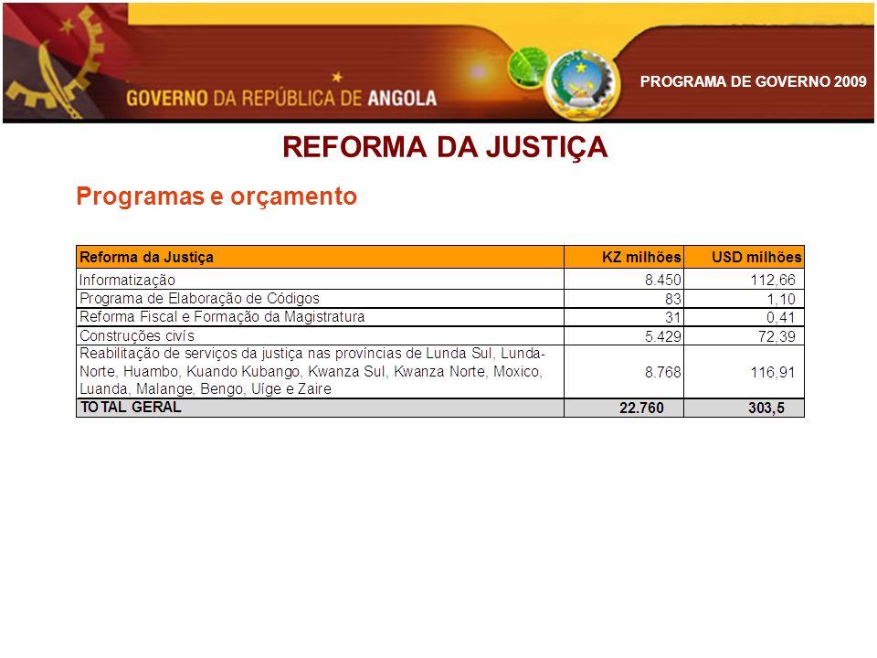 PROGRAMA DE GOVERNO 2009 REFORMA DA JUSTIÇA Programas e orçamento