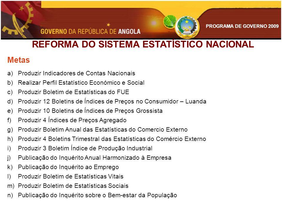 PROGRAMA DE GOVERNO 2009 REFORMA DO SISTEMA ESTATÍSTICO NACIONAL Metas a)Produzir Indicadores de Contas Nacionais b)Realizar Perfil Estatístico Económ