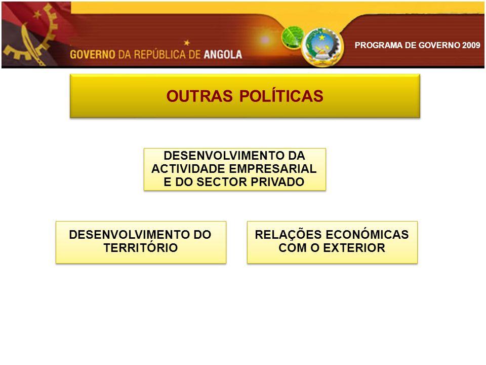 PROGRAMA DE GOVERNO 2009 OUTRAS POLÍTICAS DESENVOLVIMENTO DA ACTIVIDADE EMPRESARIAL E DO SECTOR PRIVADO DESENVOLVIMENTO DO TERRITÓRIO RELAÇÕES ECONÓMI