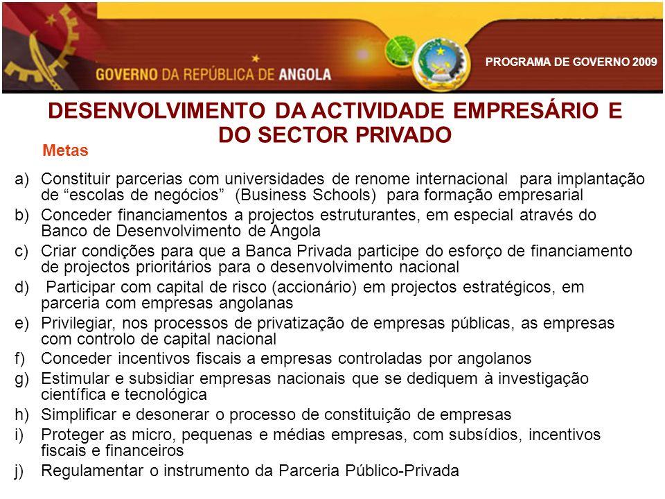 PROGRAMA DE GOVERNO 2009 Metas a)Constituir parcerias com universidades de renome internacional para implantação de escolas de negócios (Business Scho