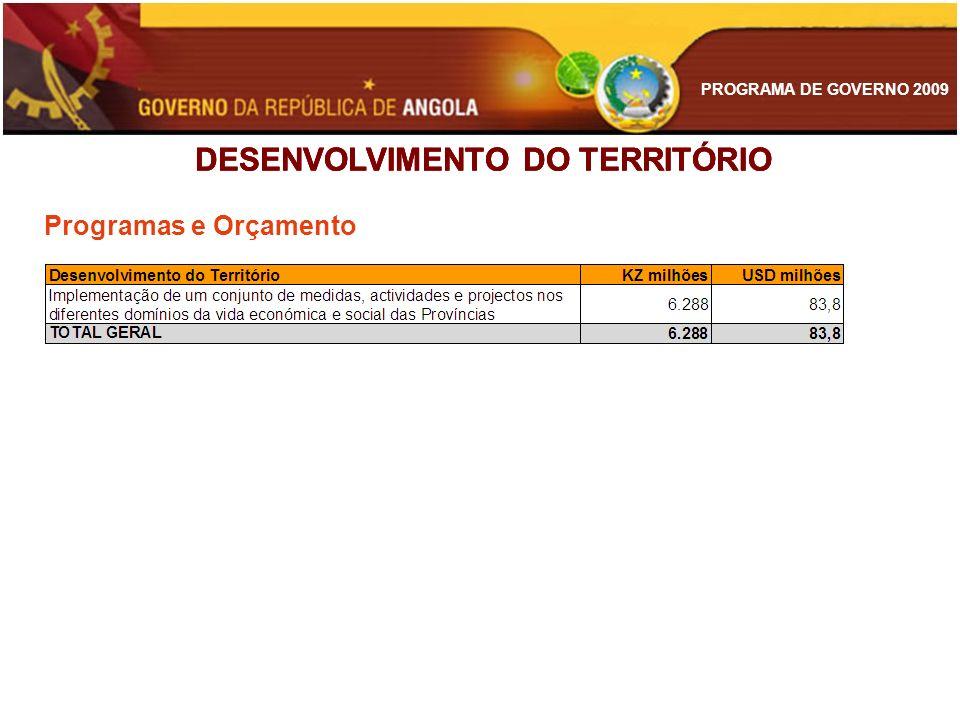 PROGRAMA DE GOVERNO 2009 DESENVOLVIMENTO DO TERRITÓRIO Programas e Orçamento