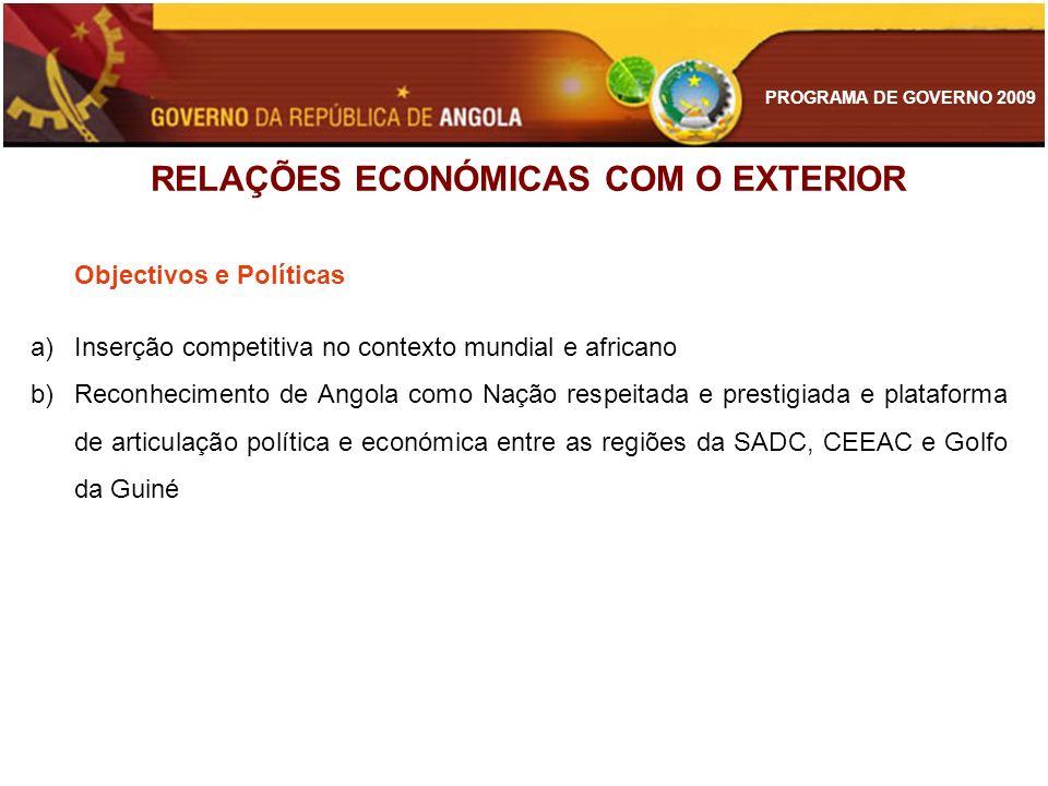 PROGRAMA DE GOVERNO 2009 Objectivos e Políticas a)Inserção competitiva no contexto mundial e africano b)Reconhecimento de Angola como Nação respeitada