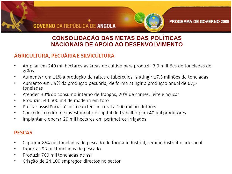 PROGRAMA DE GOVERNO 2009 AGRICULTURA, PECUÁRIA E SILVICULTURA Ampliar em 240 mil hectares as áreas de cultivo para produzir 3,0 milhões de toneladas d