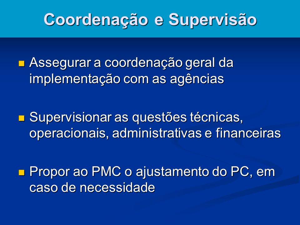 Coordenação e Supervisão Assegurar a coordenação geral da implementação com as agências Assegurar a coordenação geral da implementação com as agências Supervisionar as questões técnicas, operacionais, administrativas e financeiras Supervisionar as questões técnicas, operacionais, administrativas e financeiras Propor ao PMC o ajustamento do PC, em caso de necessidade Propor ao PMC o ajustamento do PC, em caso de necessidade