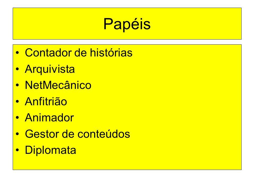 Papéis Contador de histórias Arquivista NetMecânico Anfitrião Animador Gestor de conteúdos Diplomata