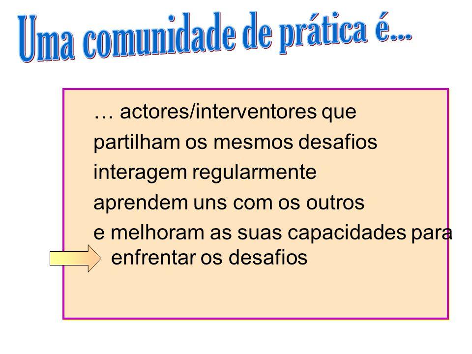 … actores/interventores que partilham os mesmos desafios interagem regularmente aprendem uns com os outros e melhoram as suas capacidades para enfrent