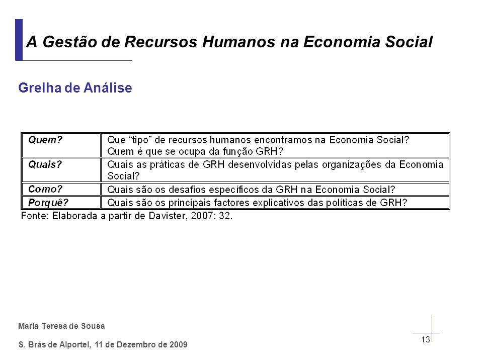 Maria Teresa de Sousa S. Brás de Alportel, 11 de Dezembro de 2009 Grelha de Análise 13 A Gestão de Recursos Humanos na Economia Social