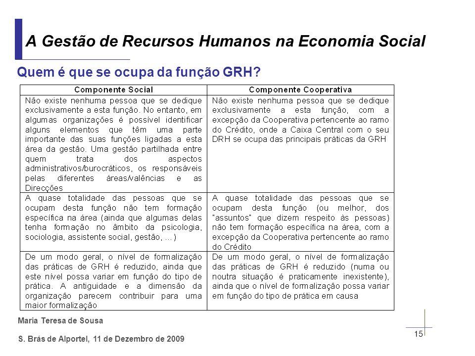 Maria Teresa de Sousa S. Brás de Alportel, 11 de Dezembro de 2009 15 A Gestão de Recursos Humanos na Economia Social Quem é que se ocupa da função GRH