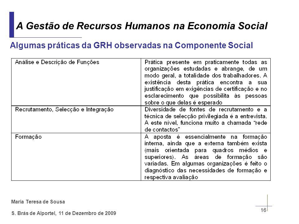 Maria Teresa de Sousa S. Brás de Alportel, 11 de Dezembro de 2009 16 Algumas práticas da GRH observadas na Componente Social A Gestão de Recursos Huma
