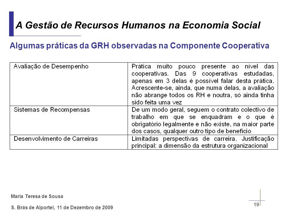 Maria Teresa de Sousa S. Brás de Alportel, 11 de Dezembro de 2009 19 A Gestão de Recursos Humanos na Economia Social Algumas práticas da GRH observada