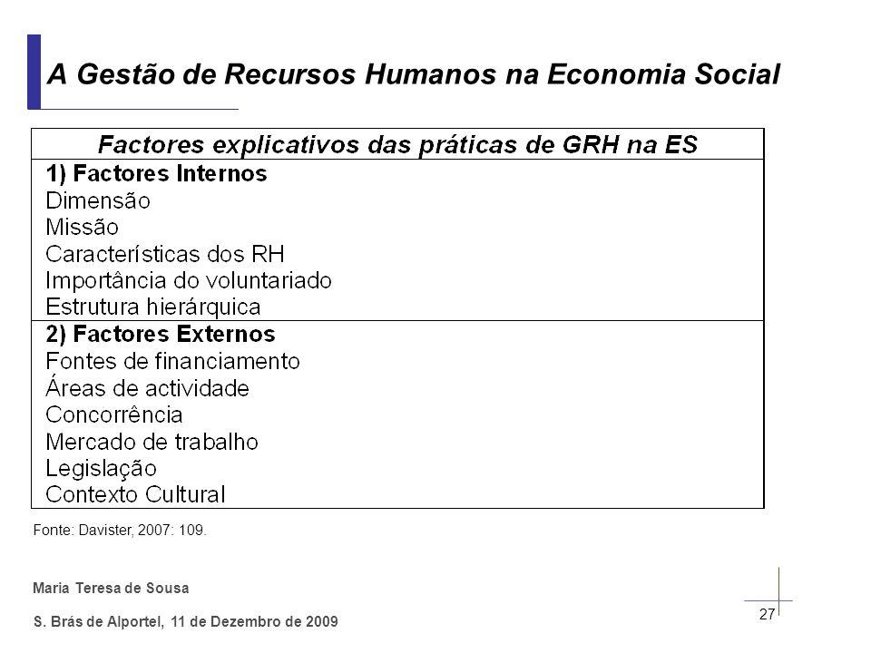 Maria Teresa de Sousa S. Brás de Alportel, 11 de Dezembro de 2009 27 A Gestão de Recursos Humanos na Economia Social Fonte: Davister, 2007: 109.