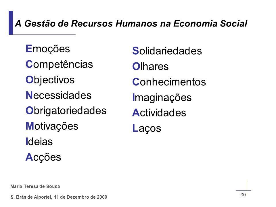 Maria Teresa de Sousa S. Brás de Alportel, 11 de Dezembro de 2009 30 A Gestão de Recursos Humanos na Economia Social Emoções Competências Objectivos N
