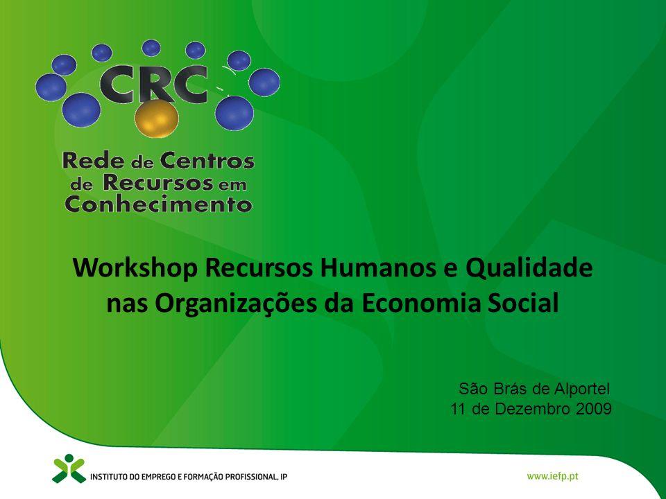 Workshop Recursos Humanos e Qualidade nas Organizações da Economia Social São Brás de Alportel 11 de Dezembro 2009
