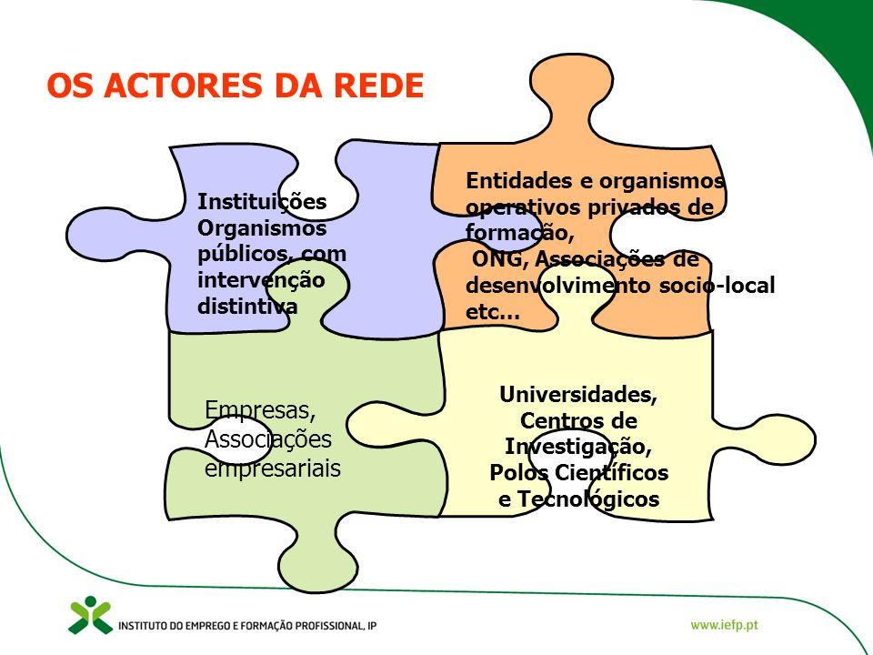 OS ACTORES DA REDE Instituições Organismos públicos, com intervenção distintiva Entidades e organismos operativos privados de formação, ONG, Associações de desenvolvimento socio-local etc...