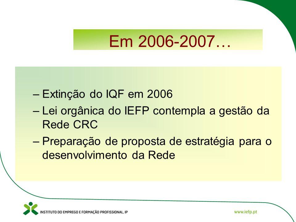 Em 2006-2007… –Extinção do IQF em 2006 –Lei orgânica do IEFP contempla a gestão da Rede CRC –Preparação de proposta de estratégia para o desenvolvimento da Rede