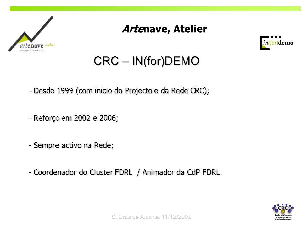 CRC – IN(for)DEMO - Desde 1999 (com inicio do Projecto e da Rede CRC); - Reforço em 2002 e 2006; - Sempre activo na Rede; - Coordenador do Cluster FDRL / Animador da CdP FDRL.