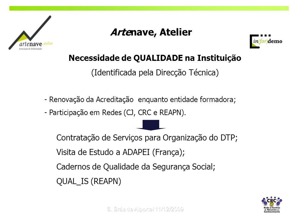 Necessidade de QUALIDADE na Instituição (Identificada pela Direcção Técnica) - Renovação da Acreditação enquanto entidade formadora; - Participação em Redes (CJ, CRC e REAPN).