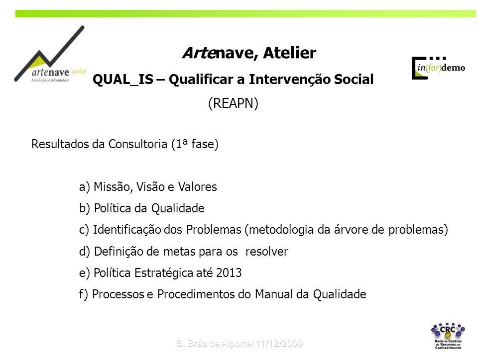 Resultados da Consultoria (1ª fase) a) Missão, Visão e Valores b) Política da Qualidade c) Identificação dos Problemas (metodologia da árvore de probl