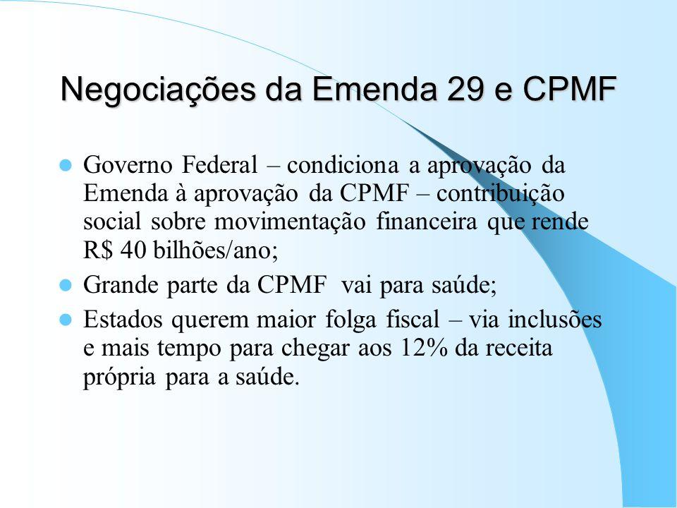 Negociações da Emenda 29 e CPMF Governo Federal – condiciona a aprovação da Emenda à aprovação da CPMF – contribuição social sobre movimentação financ