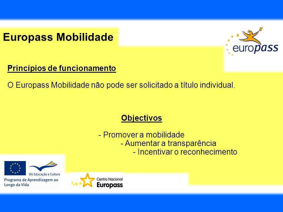 Europass Mobilidade Princípios de funcionamento O Europass Mobilidade não pode ser solicitado a título individual. Objectivos - Promover a mobilidade