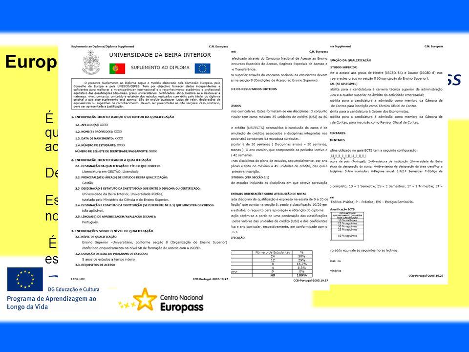 Europass Suplemento ao Diploma É um documento que é anexado a um diploma do Ensino Superior, que dá uma descrição geral do curso e dos créditos do seu