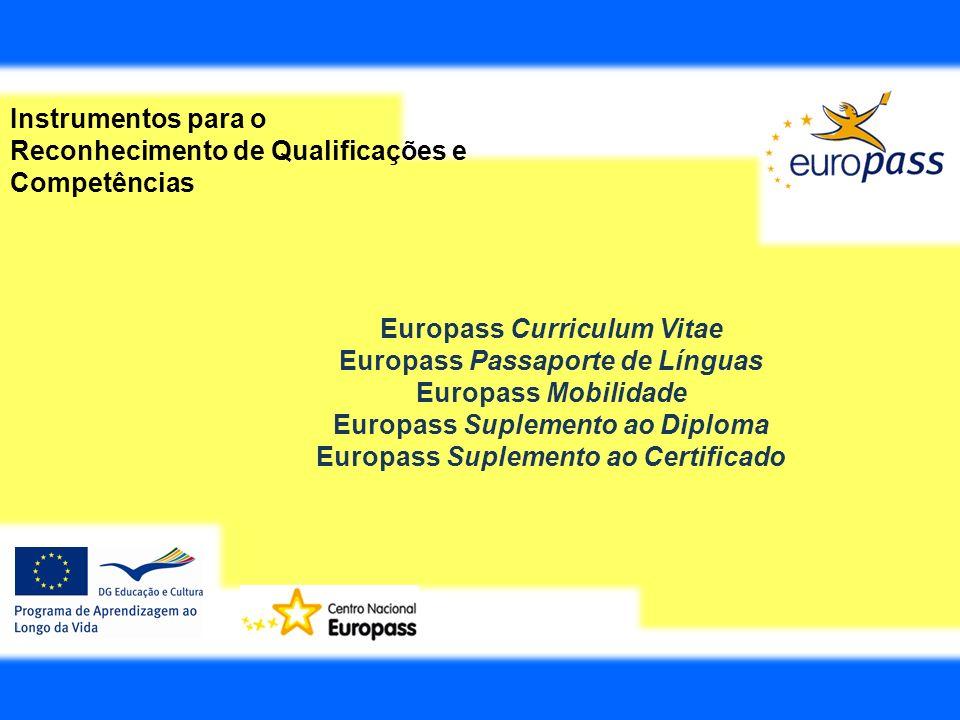Instrumentos para o Reconhecimento de Qualificações e Competências Europass Curriculum Vitae Europass Passaporte de Línguas Europass Mobilidade Europa