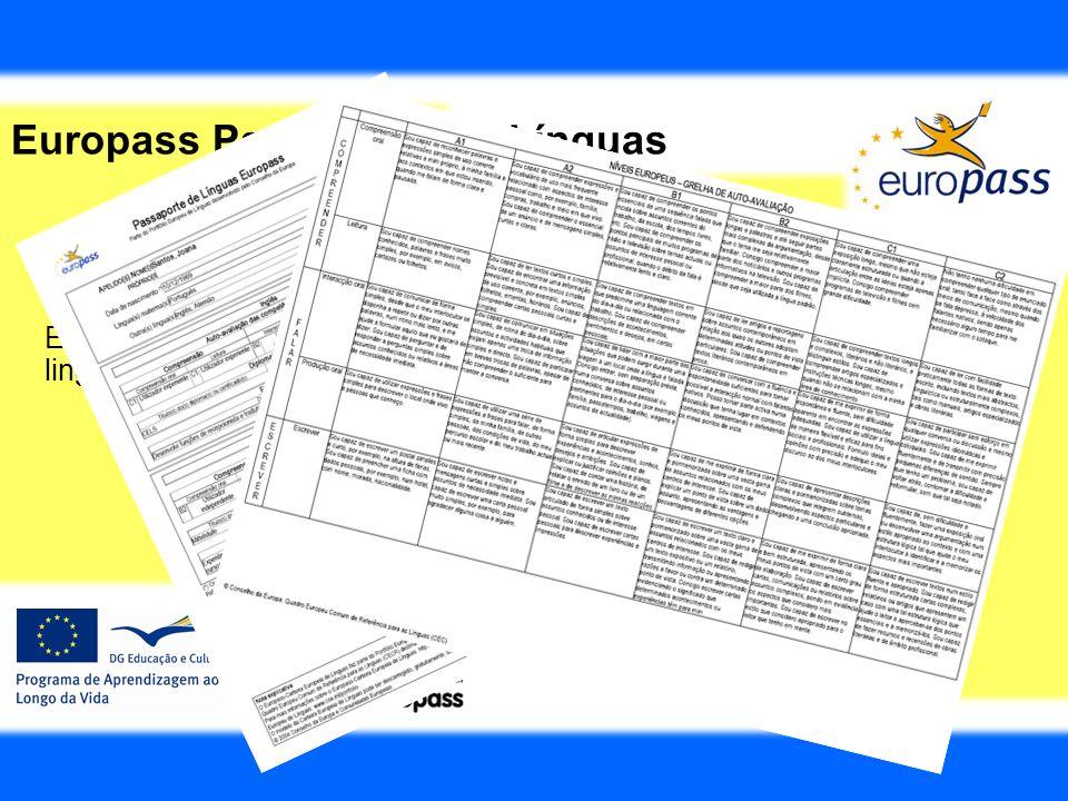 Europass Passaporte de Línguas É um documento que permite ao titular registar os seus conhecimentos linguísticos e as suas experiências e competências