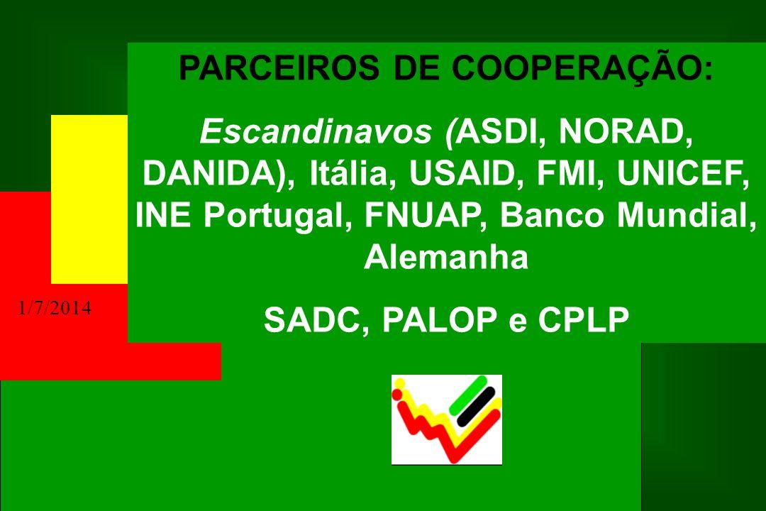 1/7/2014 PARCEIROS DE COOPERAÇÃO: Escandinavos (ASDI, NORAD, DANIDA), Itália, USAID, FMI, UNICEF, INE Portugal, FNUAP, Banco Mundial, Alemanha SADC, P