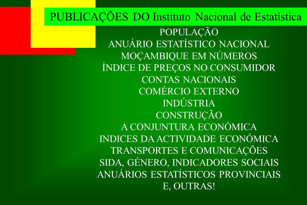 PUBLICAÇÕES DO Instituto Nacional de Estatística POPULAÇÃO ANUÁRIO ESTATÍSTICO NACIONAL MOÇAMBIQUE EM NÚMEROS ÍNDICE DE PREÇOS NO CONSUMIDOR CONTAS NA