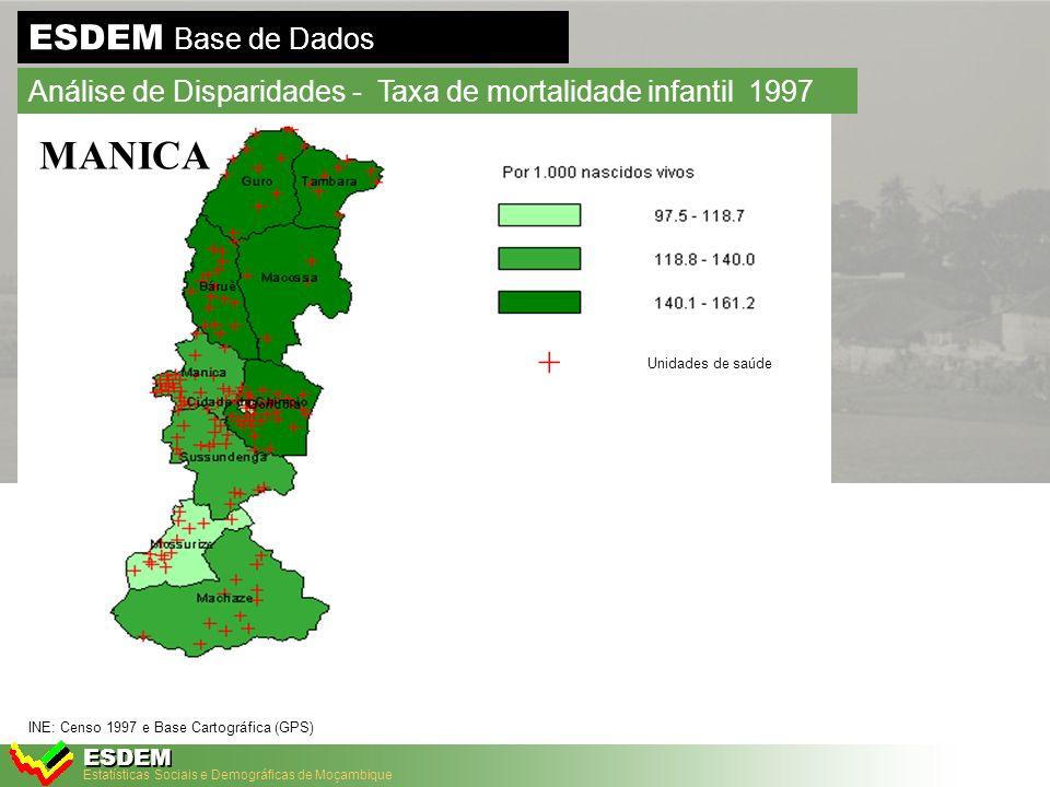 Estatísticas Sociais e Demográficas de Moçambique ESDEM ESDEM Base de Dados Análise de Disparidades - Taxa de mortalidade infantil 1997 Furos Funcionais Poço Funcionais Fontanários Funcionais GAZA INE: Censo 1997 e Base Cartográfica (GPS)
