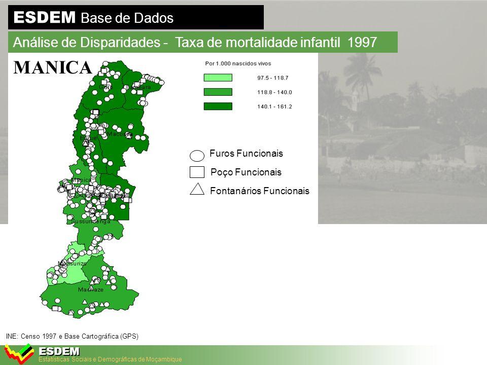 Estatísticas Sociais e Demográficas de Moçambique ESDEM ESDEM Base de Dados Análise de Disparidades - Taxa de mortalidade infantil 1997 INE: Censo 1997 e Base Cartográfica (GPS) + Unidades de saúde MANICA