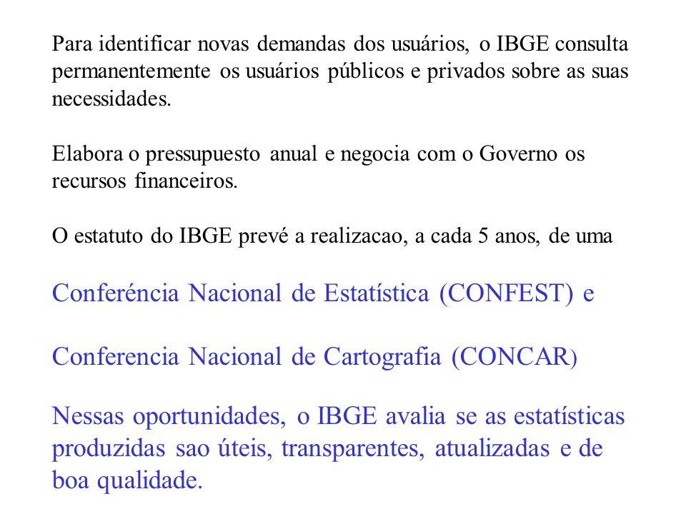 No Brasil, o Instituto Brasileiro de Geografia e Estatística (IBGE) coordena dois sub-sistemas de informacao: 1.Sistema Cartografico Nacional (IBGE) -