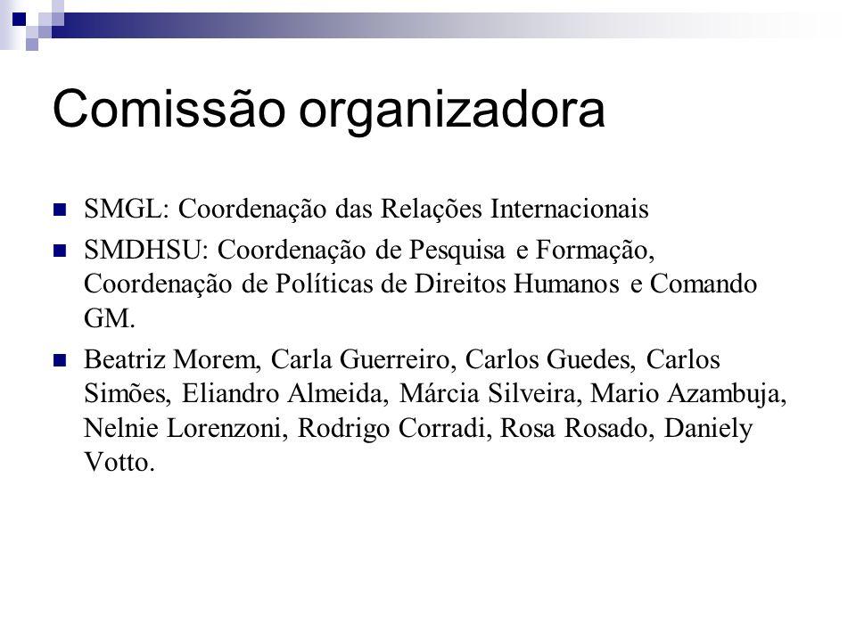 Comissão organizadora SMGL: Coordenação das Relações Internacionais SMDHSU: Coordenação de Pesquisa e Formação, Coordenação de Políticas de Direitos H