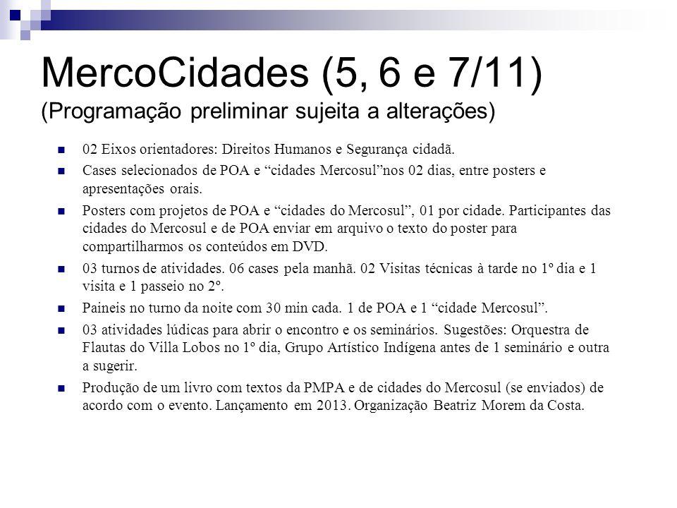 MercoCidades (5, 6 e 7/11) (Programação preliminar sujeita a alterações) 02 Eixos orientadores: Direitos Humanos e Segurança cidadã. Cases selecionado